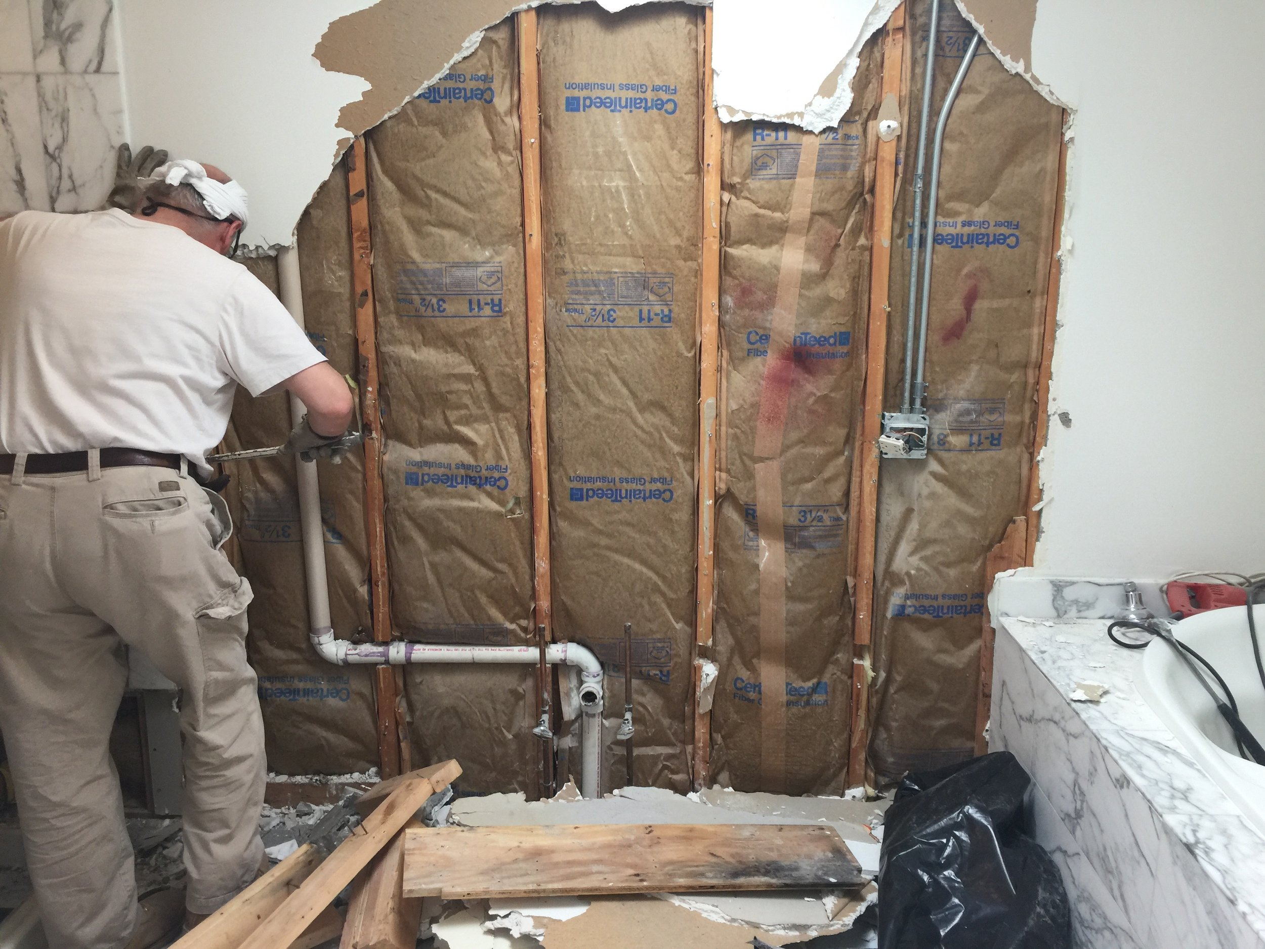R-11 insulation on an exterior wall leads to very cold conditions in the bathroom. Proper insulation is a critical component of good renovation work, even though it is invisible when the project is complete.