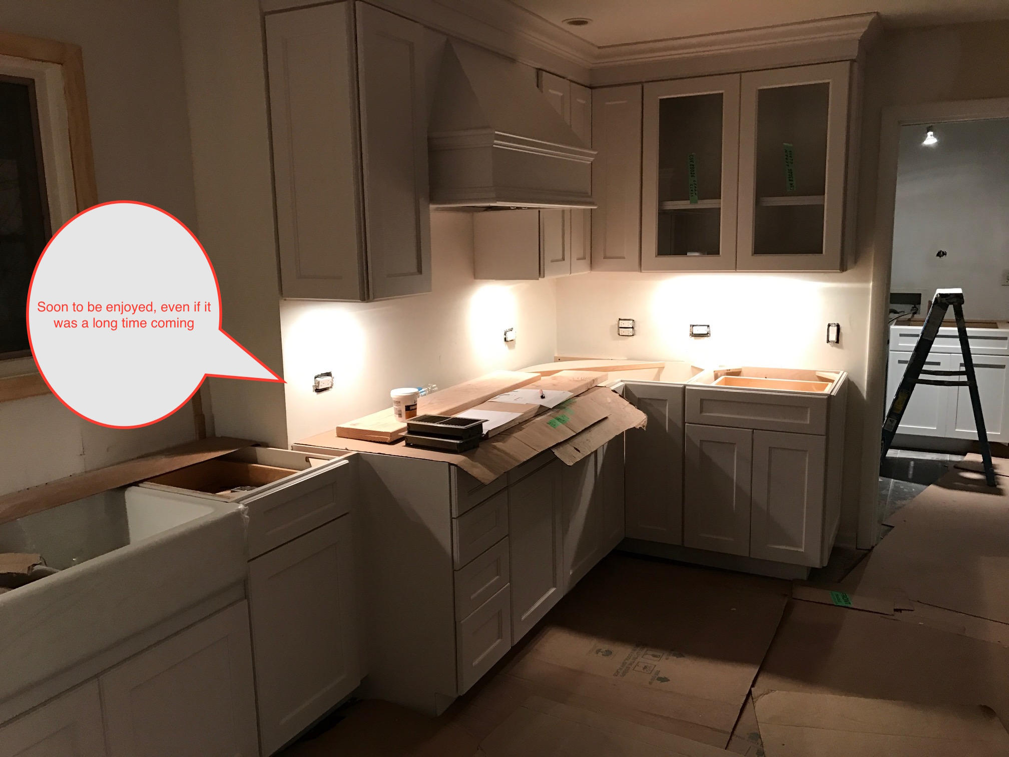 This first floor renovation has been over a year in the making, and the entire job should have been completed within 6 months. We were second on the scene, after the first firm responsible for completing this project was discharged. Hats off to the clients who kept their cool throughout the entire ordeal.