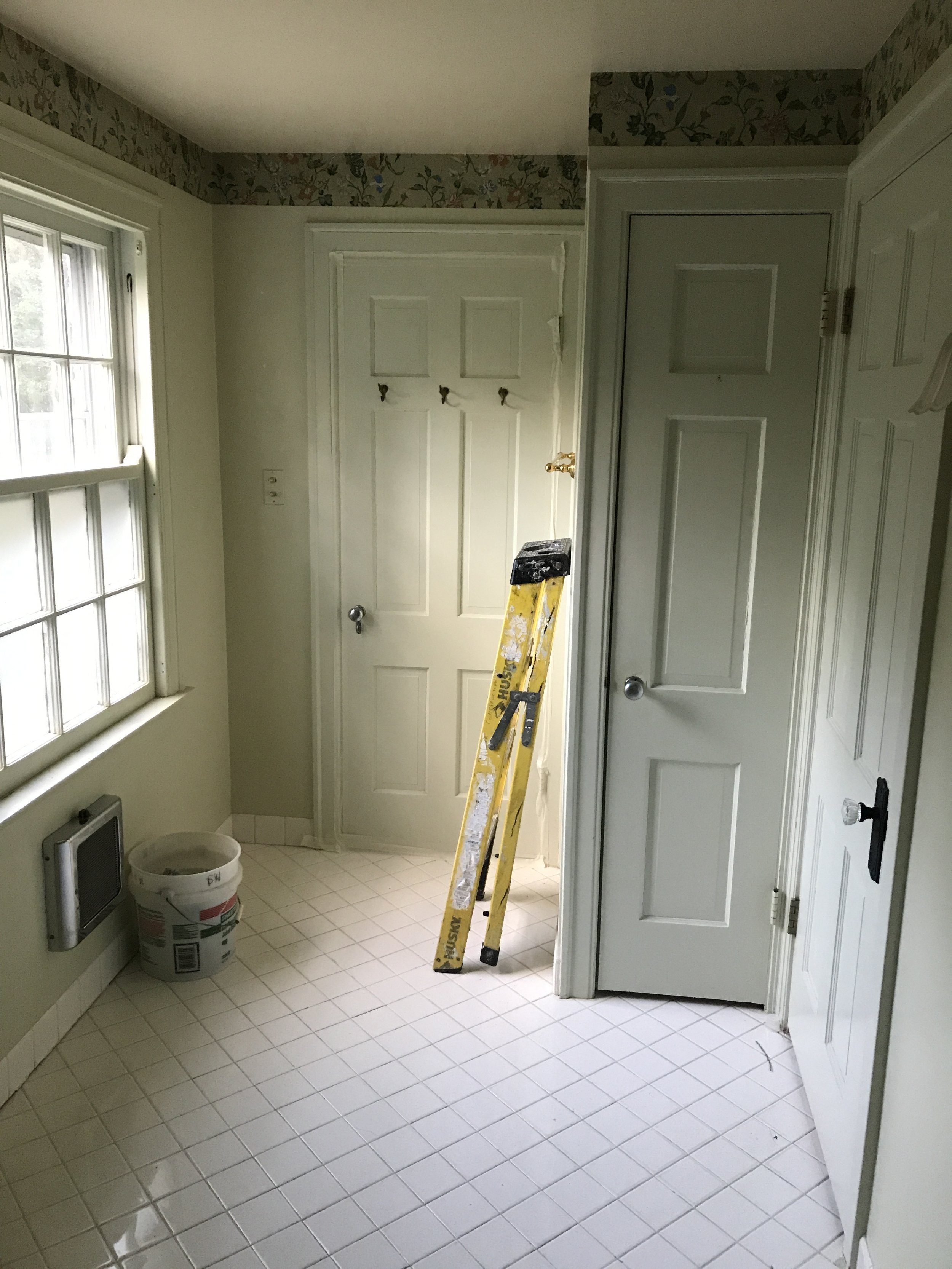 A view of the rest of the bathroom. A small closet sat between the hall door and master bedroom door. The original bathroom was nearly 14 feet long, but only 6 feet wide.