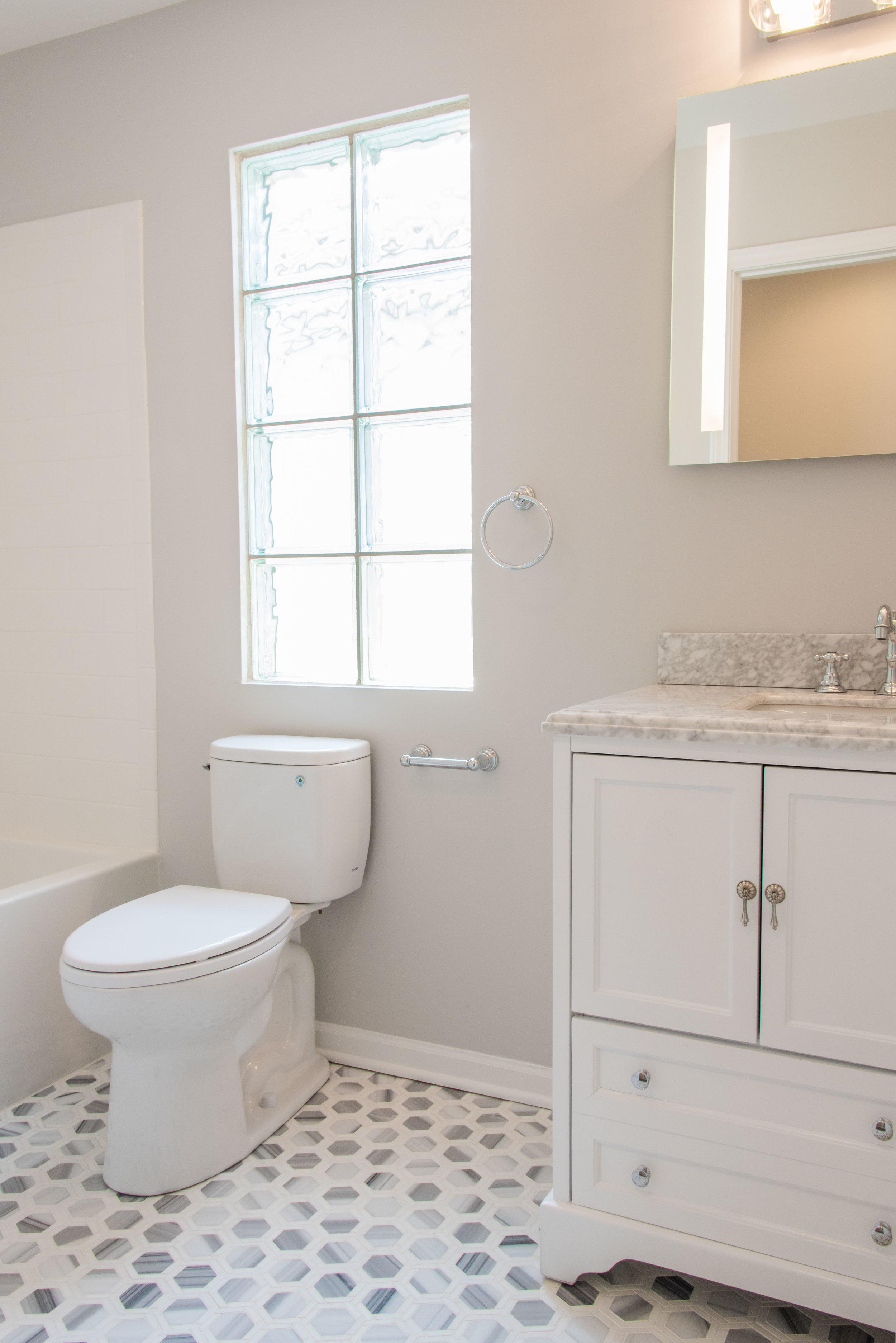 The new hall bathroom.