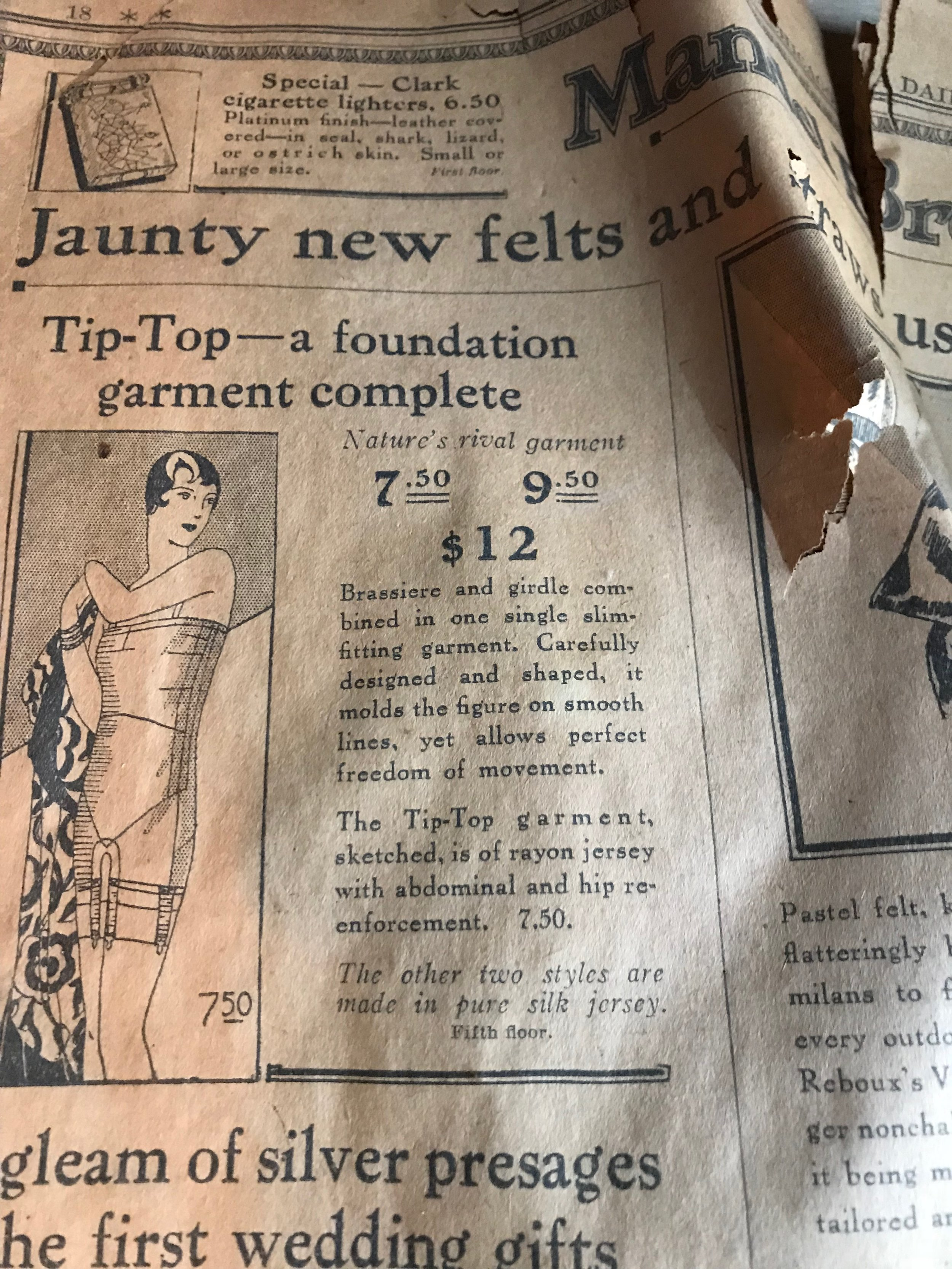 "We found sheets of old newspaper Inside the walls of this renovation project, including this Chicago Daily Tribune advertisement from 1927 for jaunty new felts. Suffice to say that the house was not ""Tip-Top"" when we started."