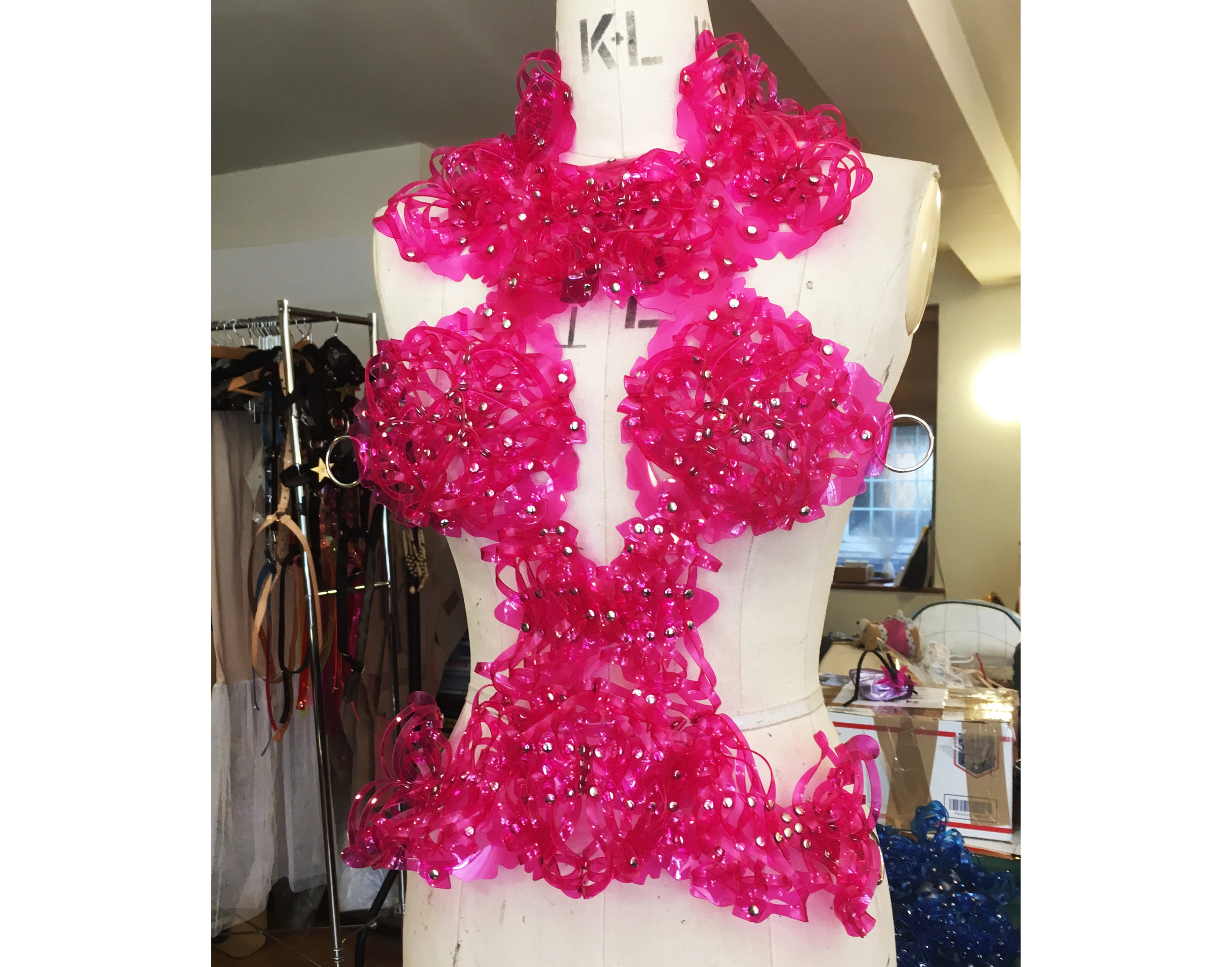 World Princess harness made to order in Rose Pink PVC
