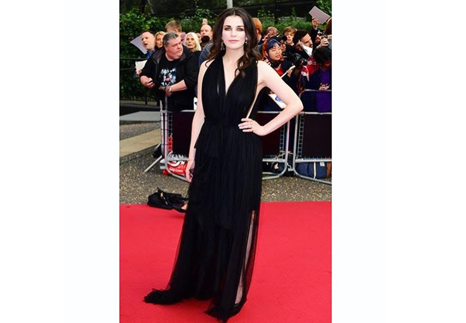Aisling Bea wearing made to order silk tulle dress on the red carpet at the GQ awards.