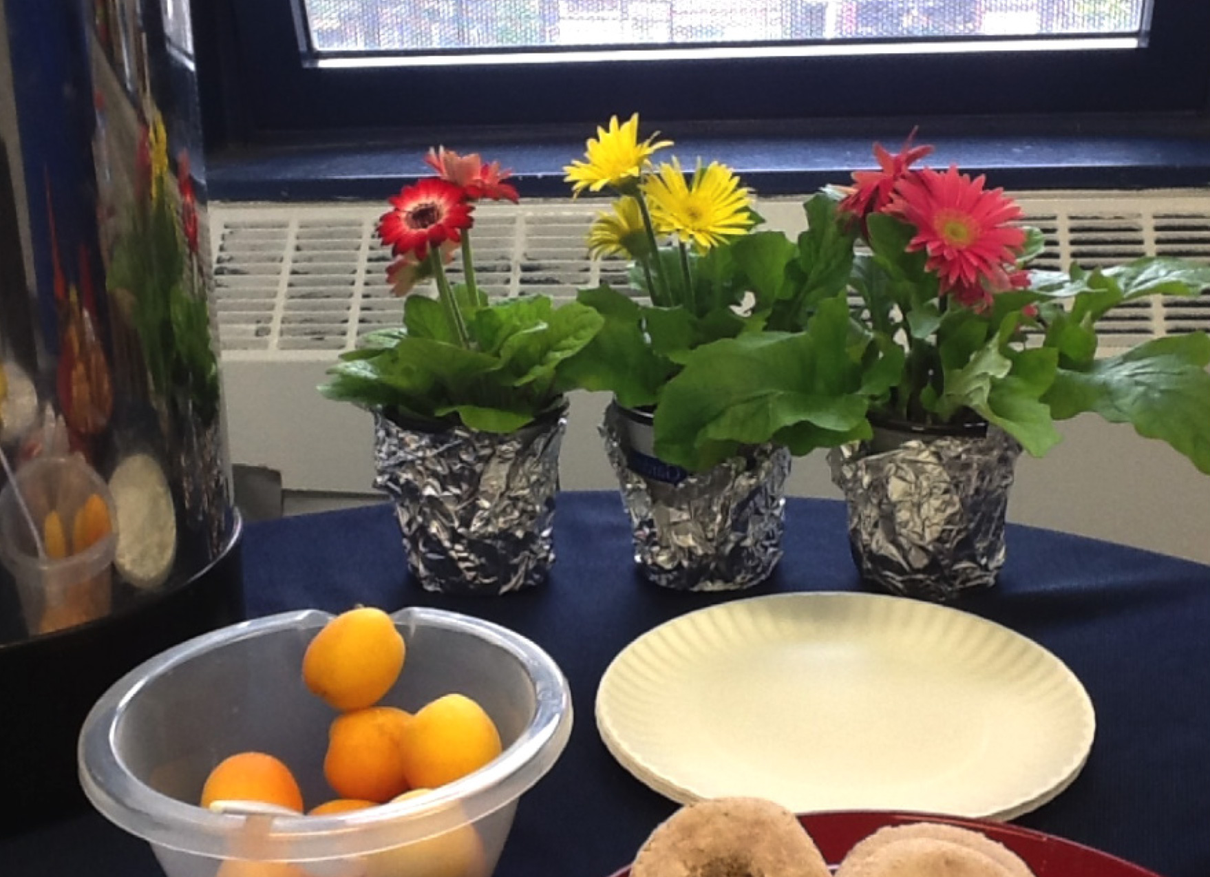 Coordinator to Program Director: I notice that you set up the table with flowers and snacks for today's staff meeting. This is important because it helps teachers feel respected which in turn helps quiet the static and allows people to focus on the topics of today's meeting.