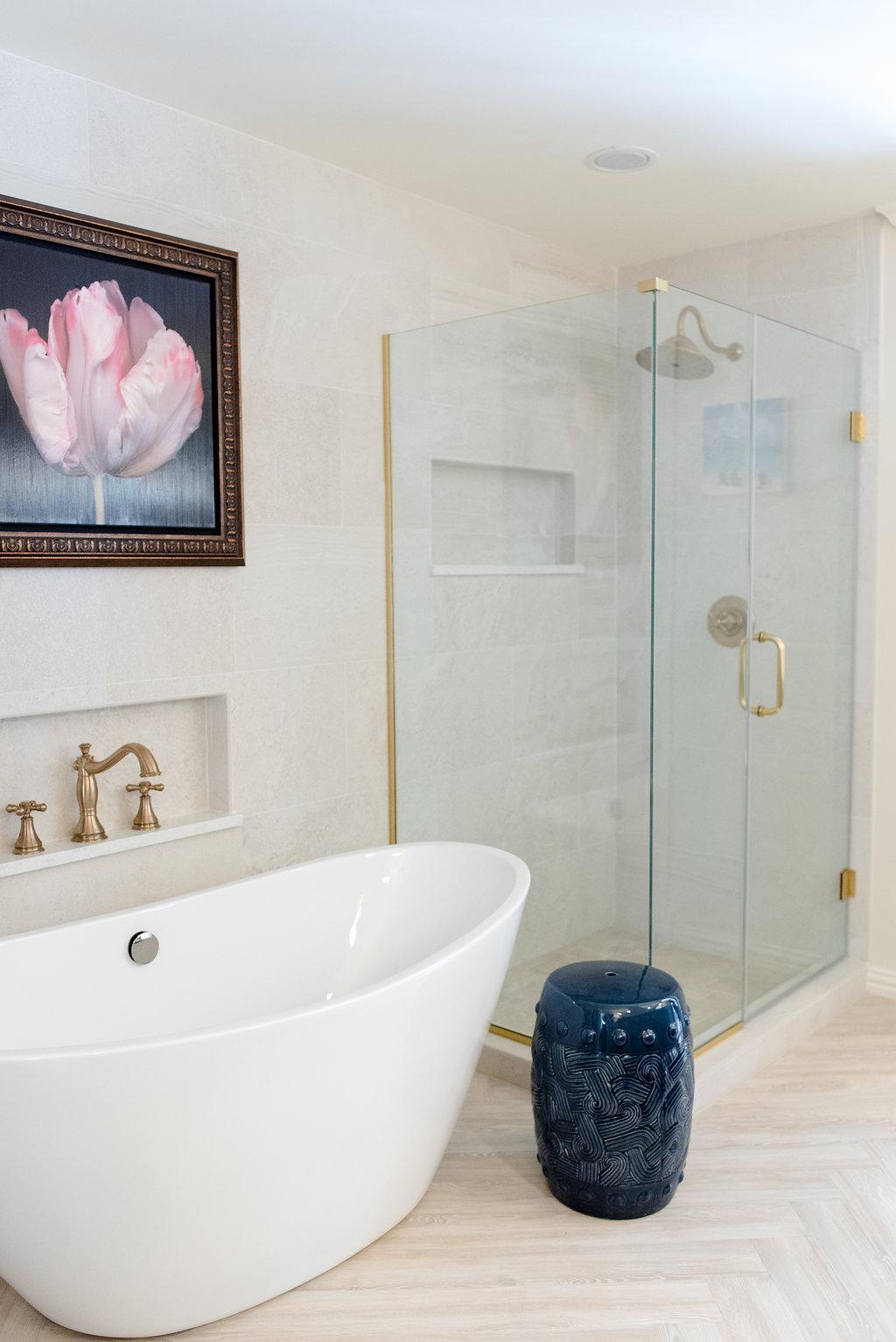 Trend Global Nomad Bathroom Herringbone floor gold hardware