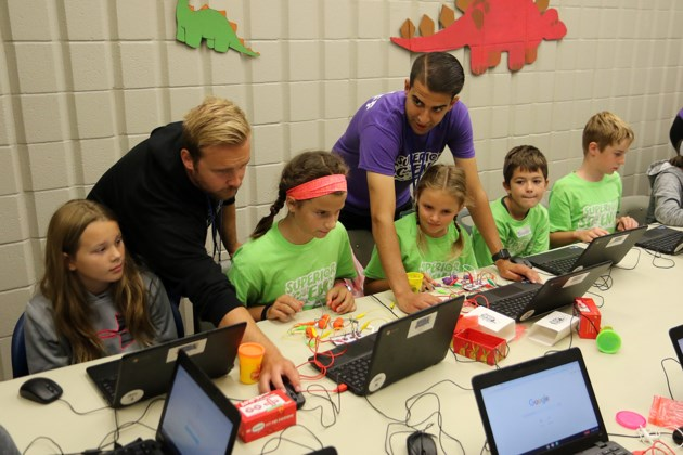 Students take part in a coding exercise on Friday, Aug. 16, 2019 at a Superior Science summer camp at Lakehead University. (Leith Dunick, tbnewswatch.com)