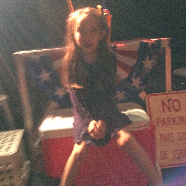 photo of my daughter on set at depaul university