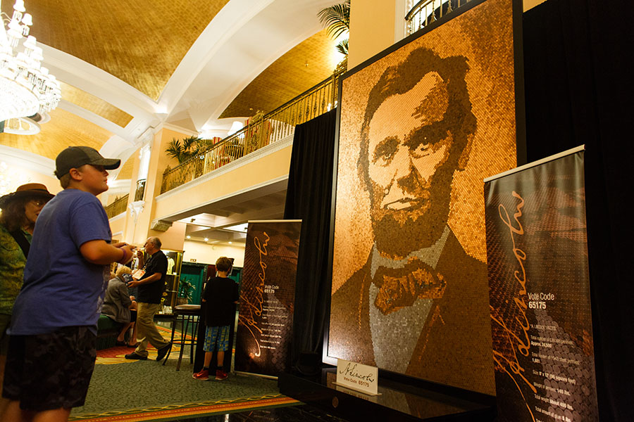 Public Vote Grand Prize Winner / 2-D Winner - 'A. Lincoln' at Amway Grand Plaza, by Richard Schlatter