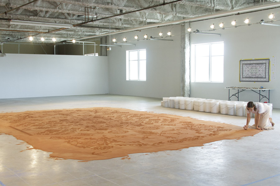 Public Vote and Juried Time-Based Winner - 'Red Dirt Rug Monument' at Western Michigan University Grand Rapids, by Rena Detrixhe