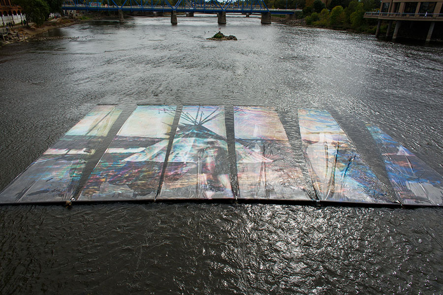 Public Vote Installation Winner - 'Oil+Water' in the Grand River, by Ryan Spencer Reed and Richard App