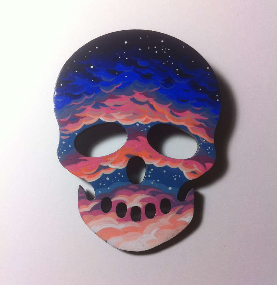 Handpainted pin painted on a prebought wooden shape.