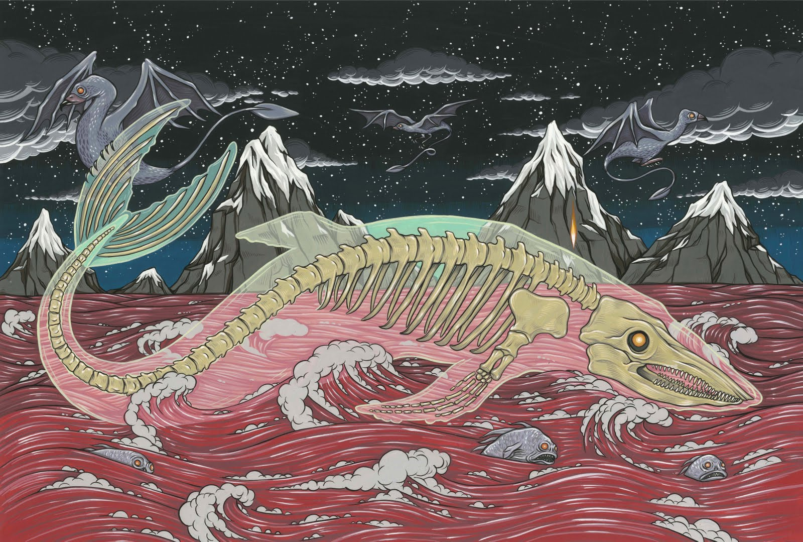 "Bake Kujira For two person show Across the Haunted Sea with Michael Bukowski, 2011. Gouache on bristol 7"" X 9"""