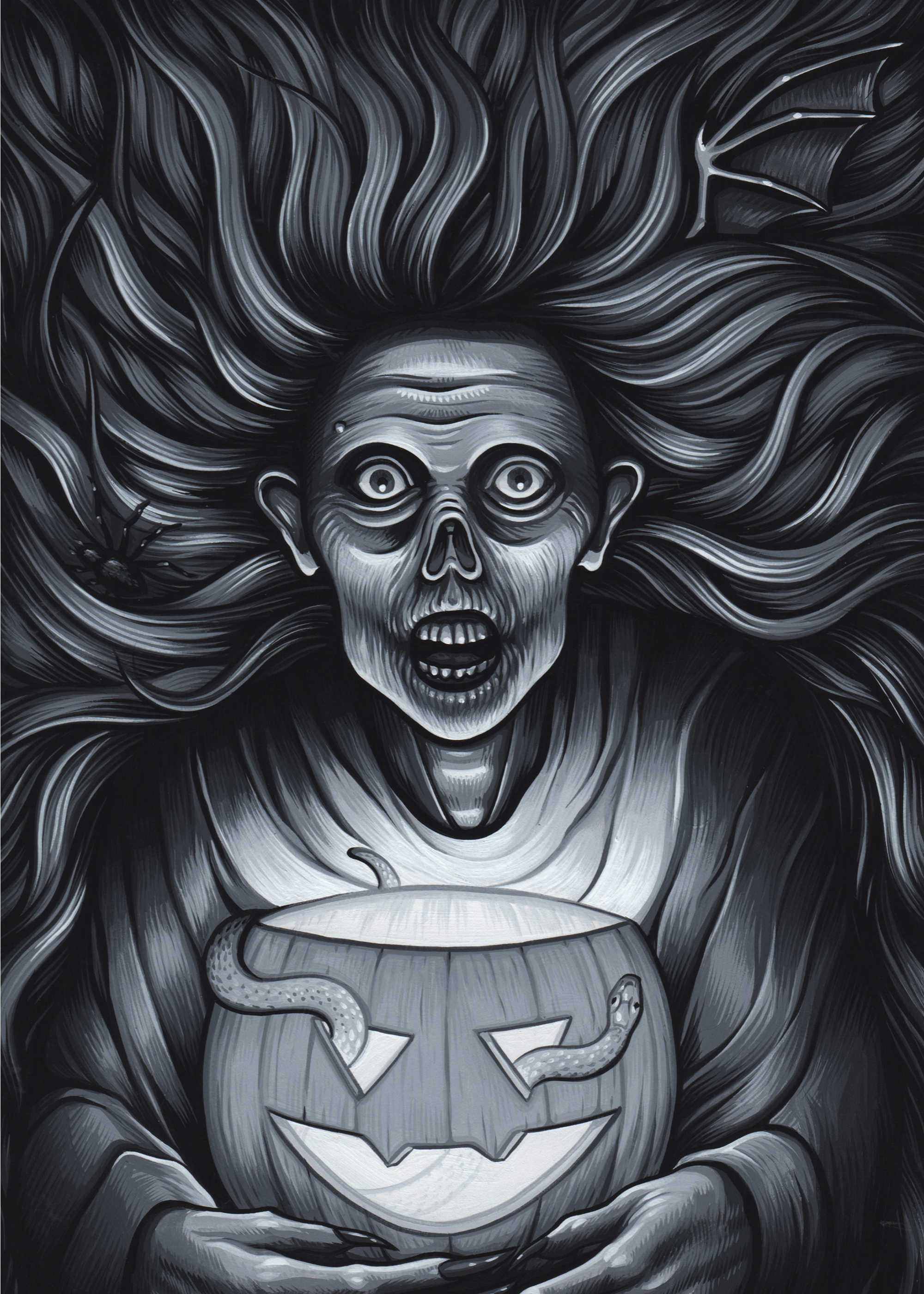 Exclusive artwork done for the Cryptocurium Oct. 2015 Parcel of Terror  Gouache on paper