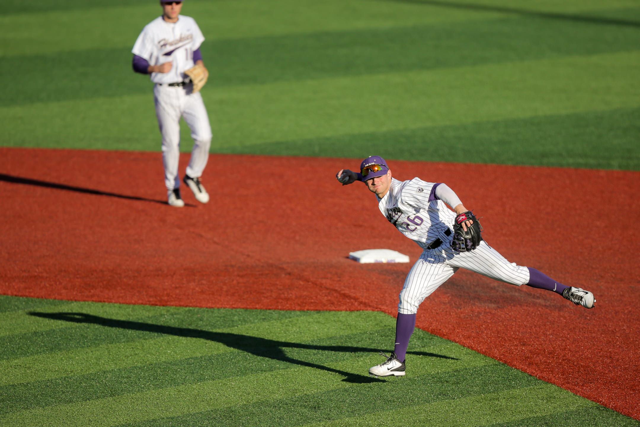 University of Washington Huskies Baseball Infielder Levi Jordan Throwing