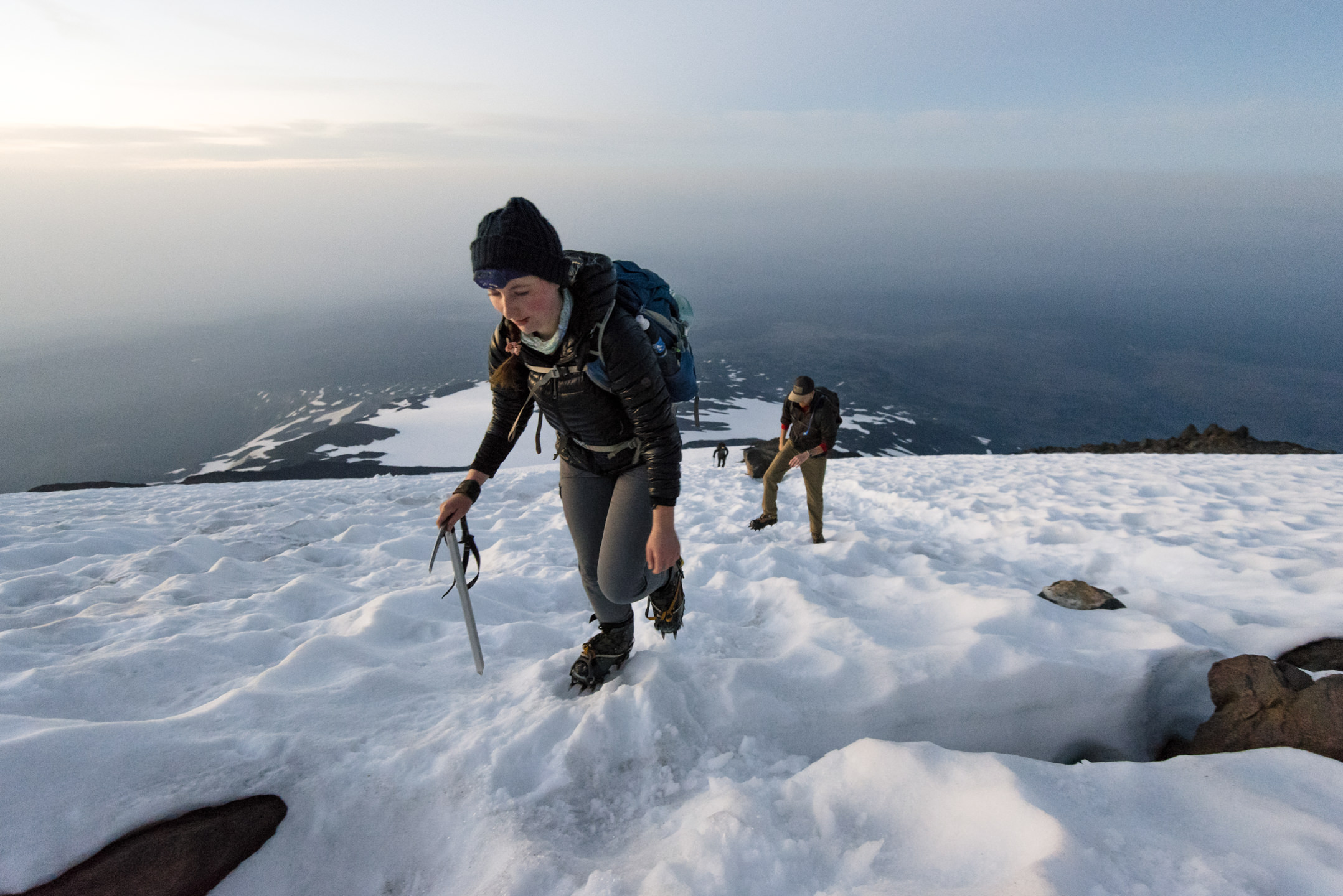 Madolyn Moritz and Brian Helmholz climb up the South Climb from Lunch Counter of Mount Adams in Southern Washington in Gifford National Forest
