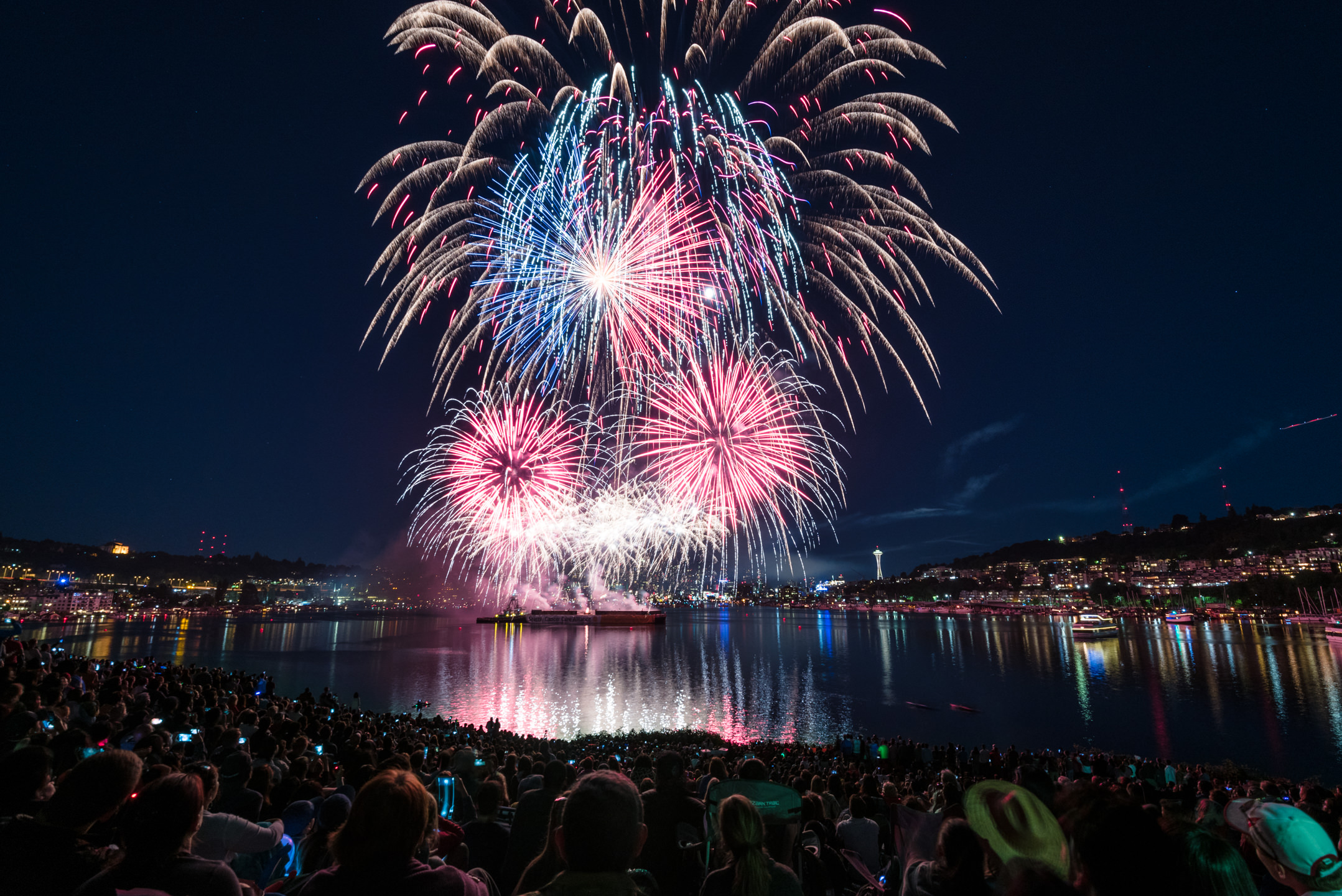 Fourth of July Independence Day Fireworks from Gasworks Park on Lake Union in Seattle Washington 2017