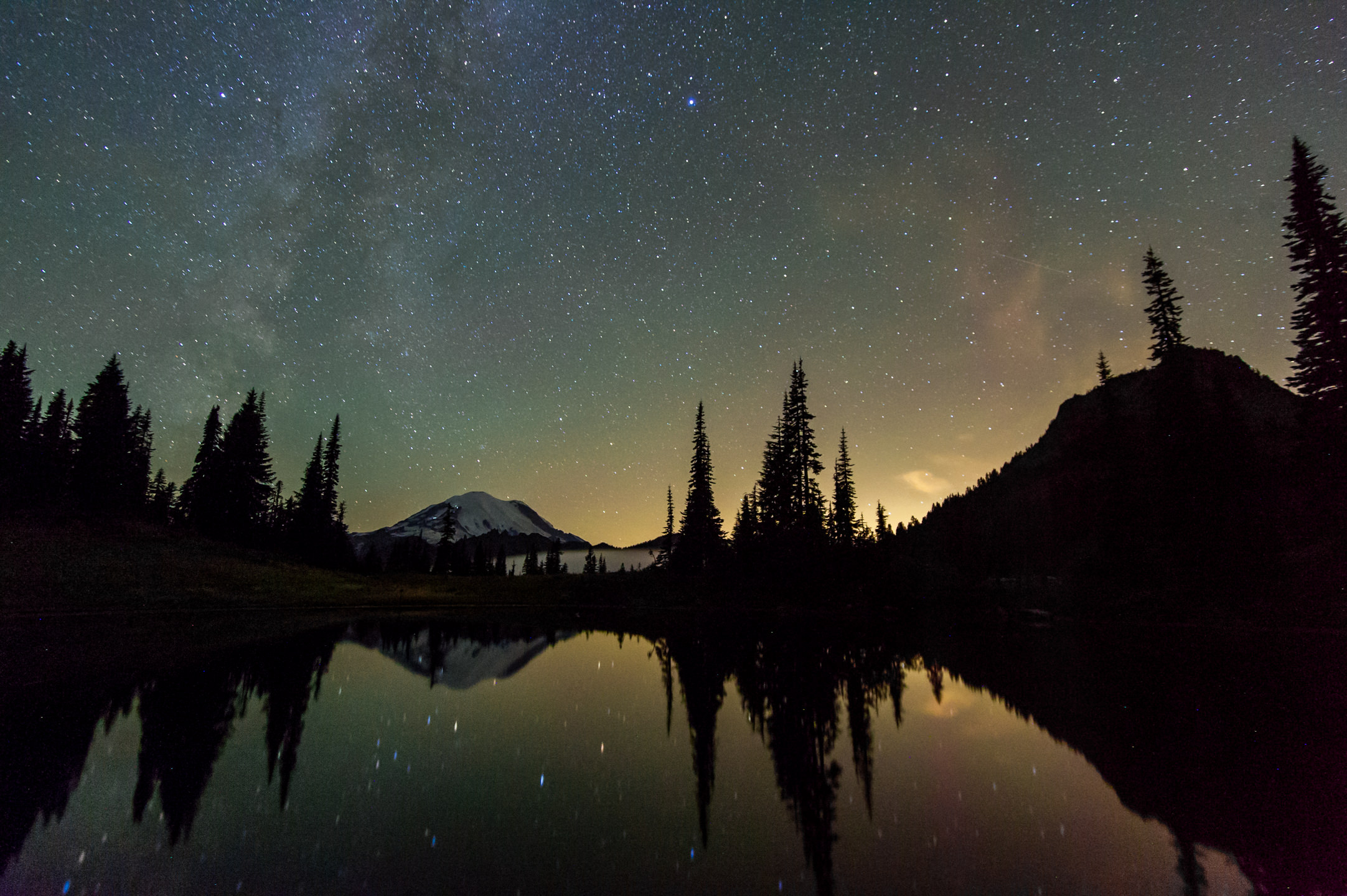 Perseid Meteor Shower 2015, Stars, and Milky Way over Mount Rainier National Park Reflection at Tipsoo Lake