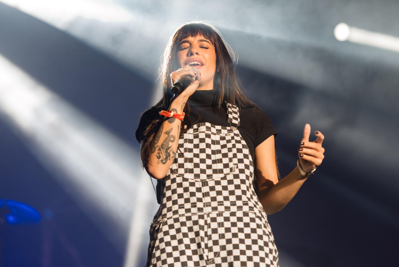 Naomi Wild singing with ODESZA headlining at Bumbershoot Music Festival at Seattle Center Washington 2017