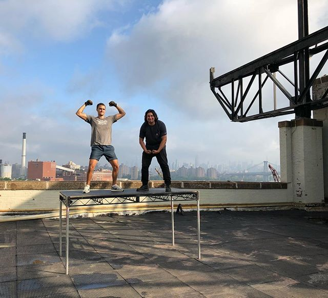 Preparing for a shoot today, building a platform to see over the wall and get that clean shot of the Manhattan skyline. Thanks to @VividkidNYC for all my needs for the shoot and @JoeyAbreu & @age_rian for the muscle building the deck for the shoot. #Manhattanskyline