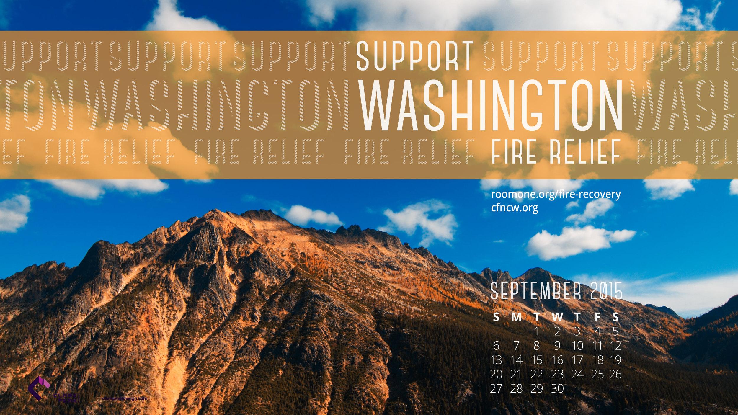 Support Washington fire relief, September calendar wallpaper