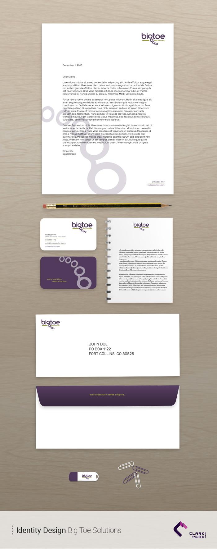 Identity Design for Big Toe Solutions by Clark Peak Design