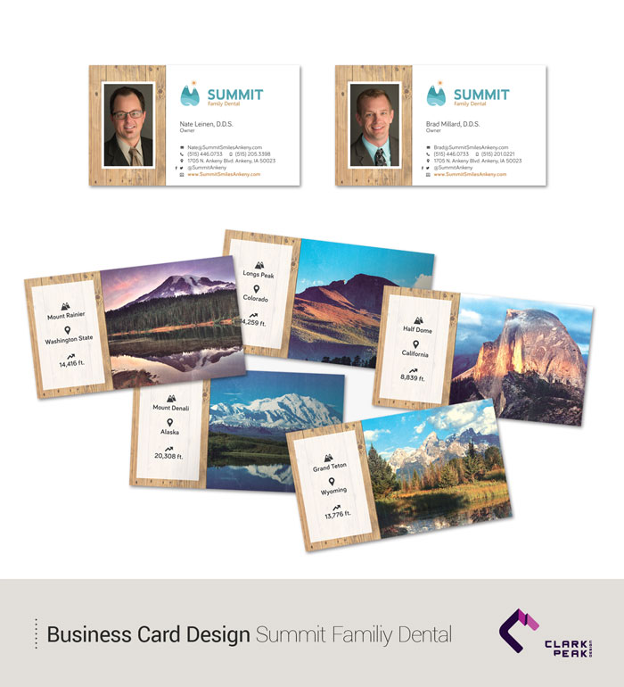 Business Card Design for Summit Family Dental by Clark Peak Design