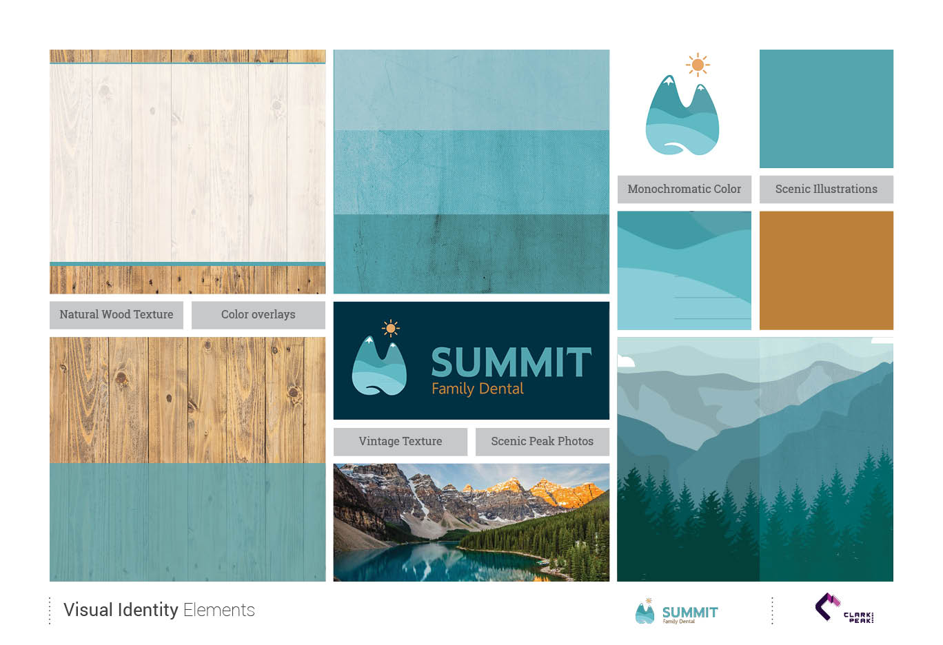 Visual Identity Elements for Summit Family Dental by Clark Peak Design