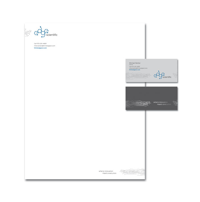 Letterhead and business card design for Edge Scientific