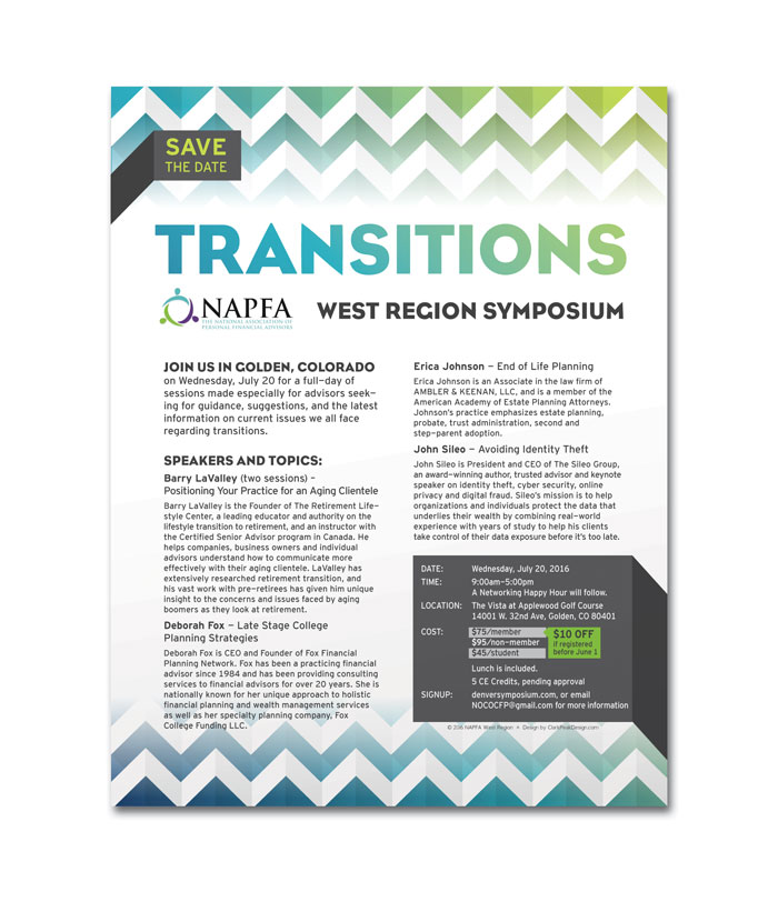 Event Flyer for the National Association of Personal Financial Advisors 2016 West Region Symposium