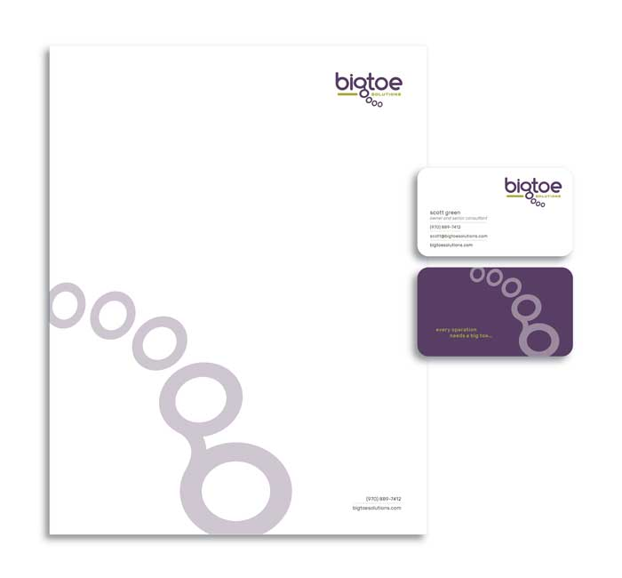 Letterhead and business card design for Big Toe Solutions