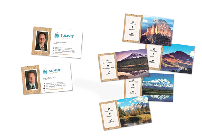 Business card design for Summit Family Dental