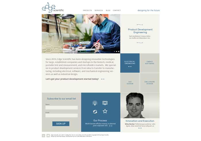 Website design for Edge Scientific (development pending)