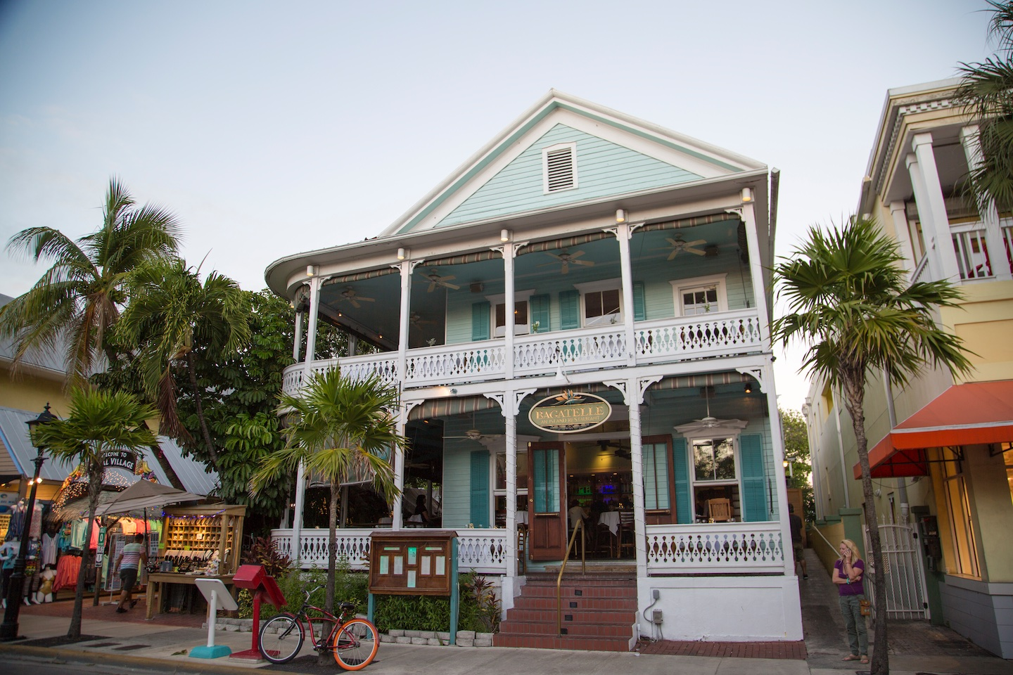 facade of Bagatelle restaurant in downtown Key West, Florida
