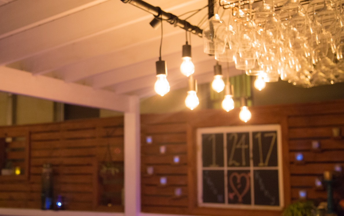 Bagatelle, exterior lighting at The Moon Lounge, open-air outdoor venue