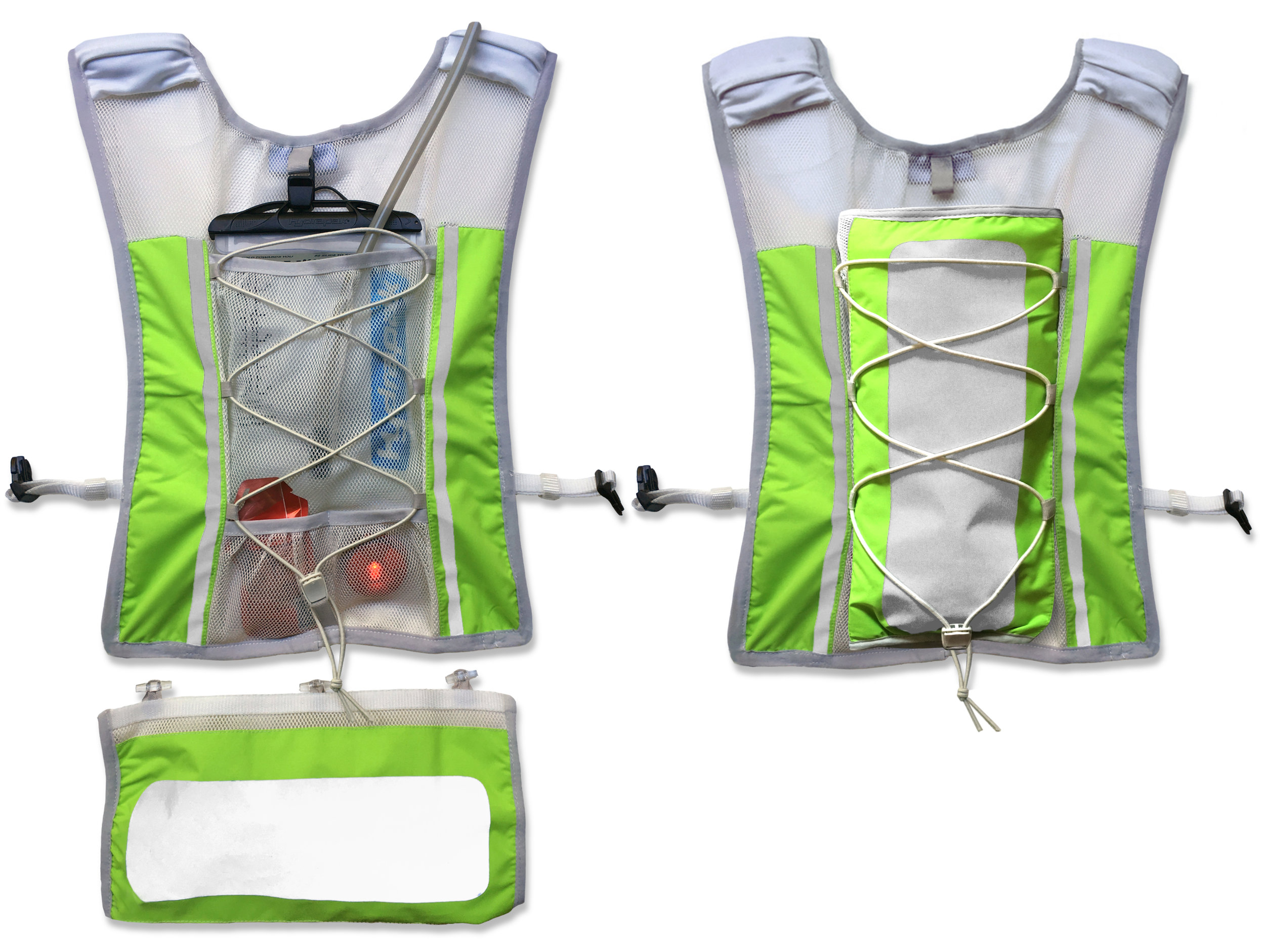 Shows detachable reflective pocket hanging below for cycling, and packed in the bungee system.