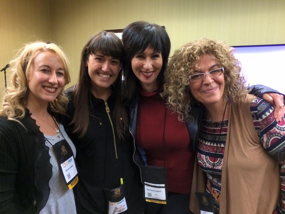 De izq. a der.: con Emma Rodero, Ana Viñuela y Conxi Barba, las tres estrellas españolas que iluminaron nuestro mapa hispano en Atlanta!