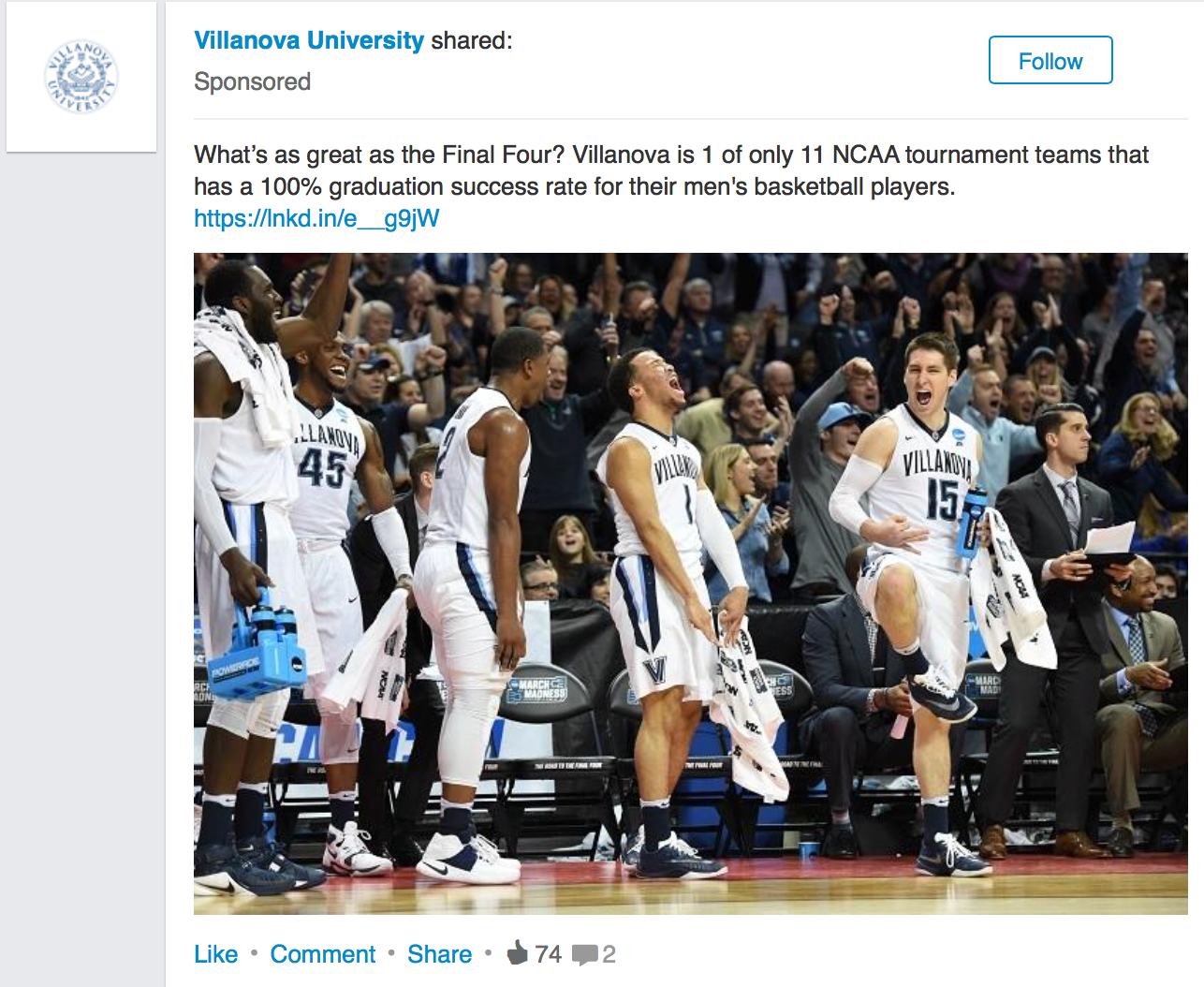 When Villanova's men's basketball squad made it to the Final Four, the university seized upon the chance to show off its academic prowess on LinkedIn. But the execution fell flat, as Villanova failed to capitalize on an easy newsjacking opportunity.