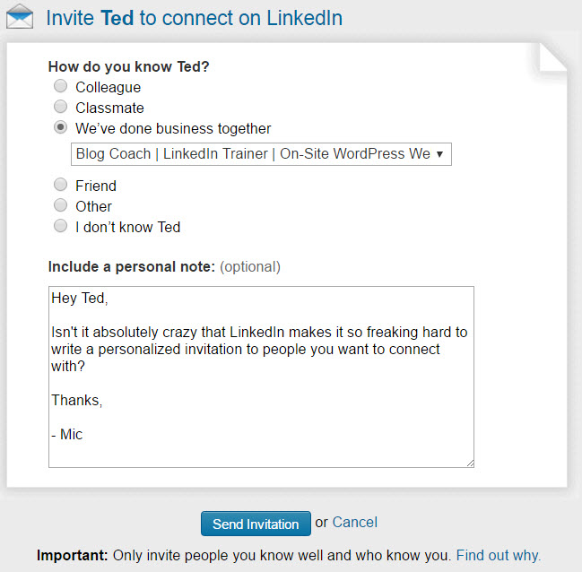 A LinkedIn trainer says the online networking site has hidden capabilities that can make it more personal and less sterile in seeking and engaging new connections.