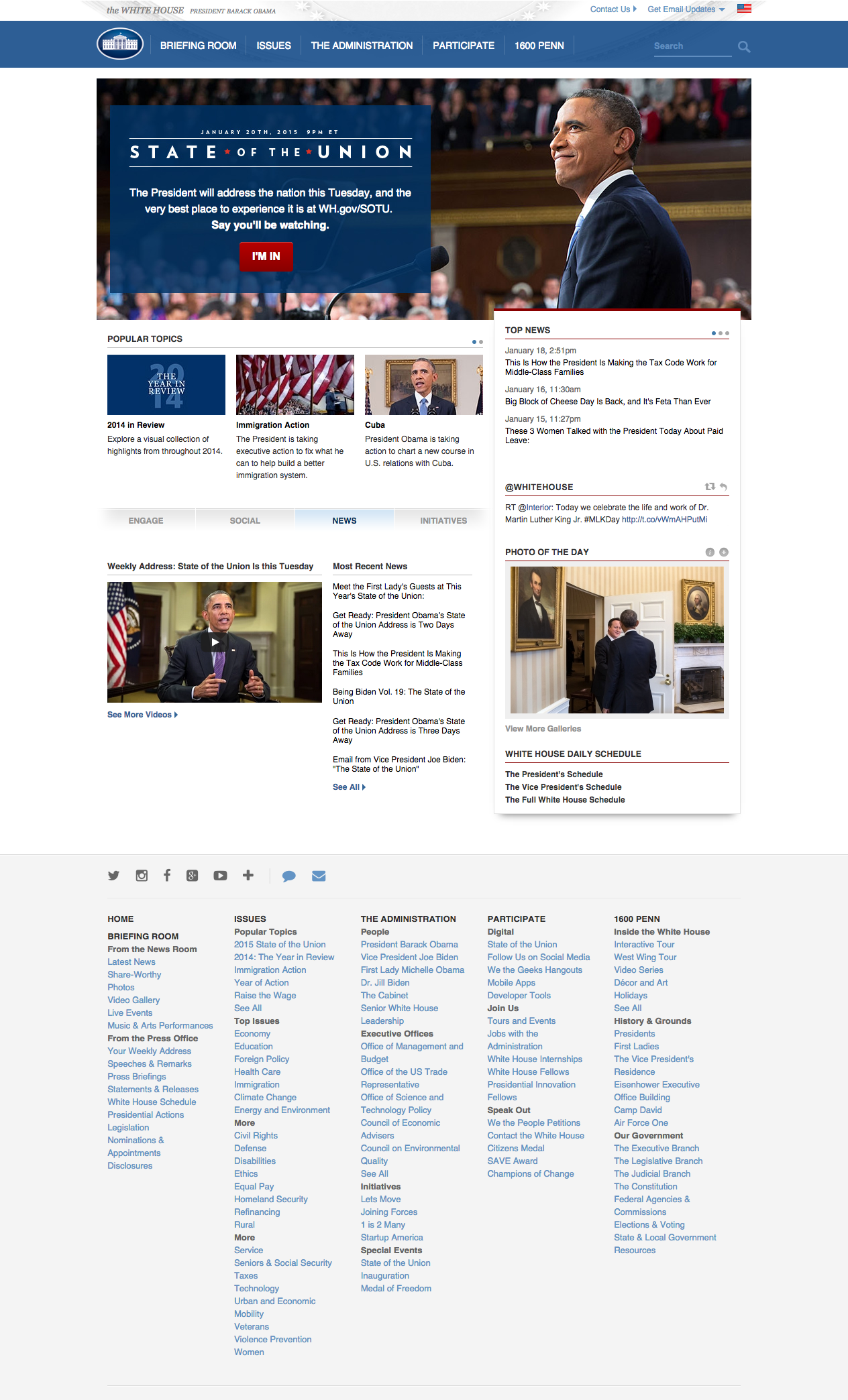 The White House website looks like a news site, which is its purpose. The site is constantly being upgraded with fresh content.