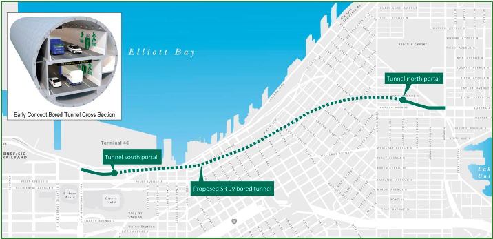 This map traces the route of a tunnel that will replace Seattle's crumbling Alaskan Way Viaduct. The expensive project has been fraught with drilling complications.