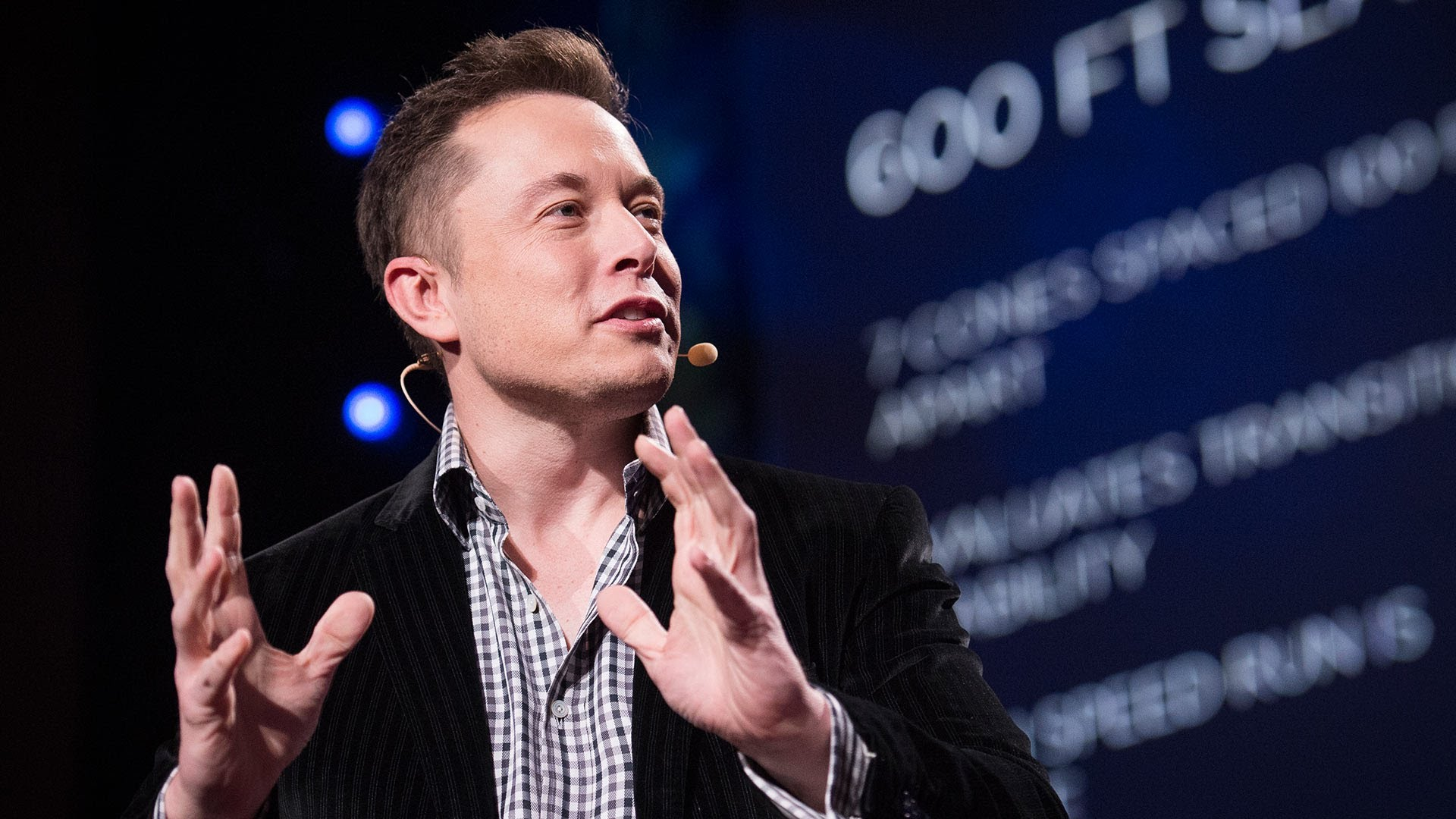 Elon Musk in a 2013 TED Talk on his innovative companies Tesla and SpaceX.