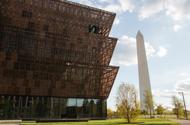 The three-tiered National Museum of African American History and Culture opens this weekend in the shadow of the Washington Monument and with a festival of Free Sounds. (Photo Credit: The New York Times)