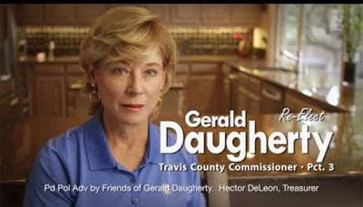 Instead of appealing to the baser instincts of voters, a county commissioner candidate in Texas tried humor to win laughs and maybe even a few votes.