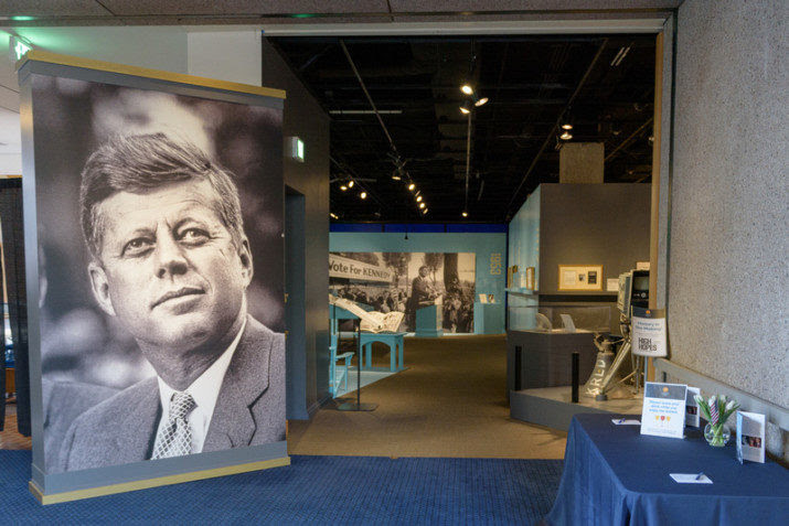"The entrance to ""High Hopes: The Journey of John F. Kennedy,"" the current exhibit at the Oregon Historical Society that celebrates JFK's 100th centennial and displays many artifacts viewed in public for the first time."
