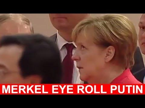 German Chancellor Angela Merkel's expressive eye roll went viral, letting everyone know her exasperation with points being made by Russian President Vladimir Putin.