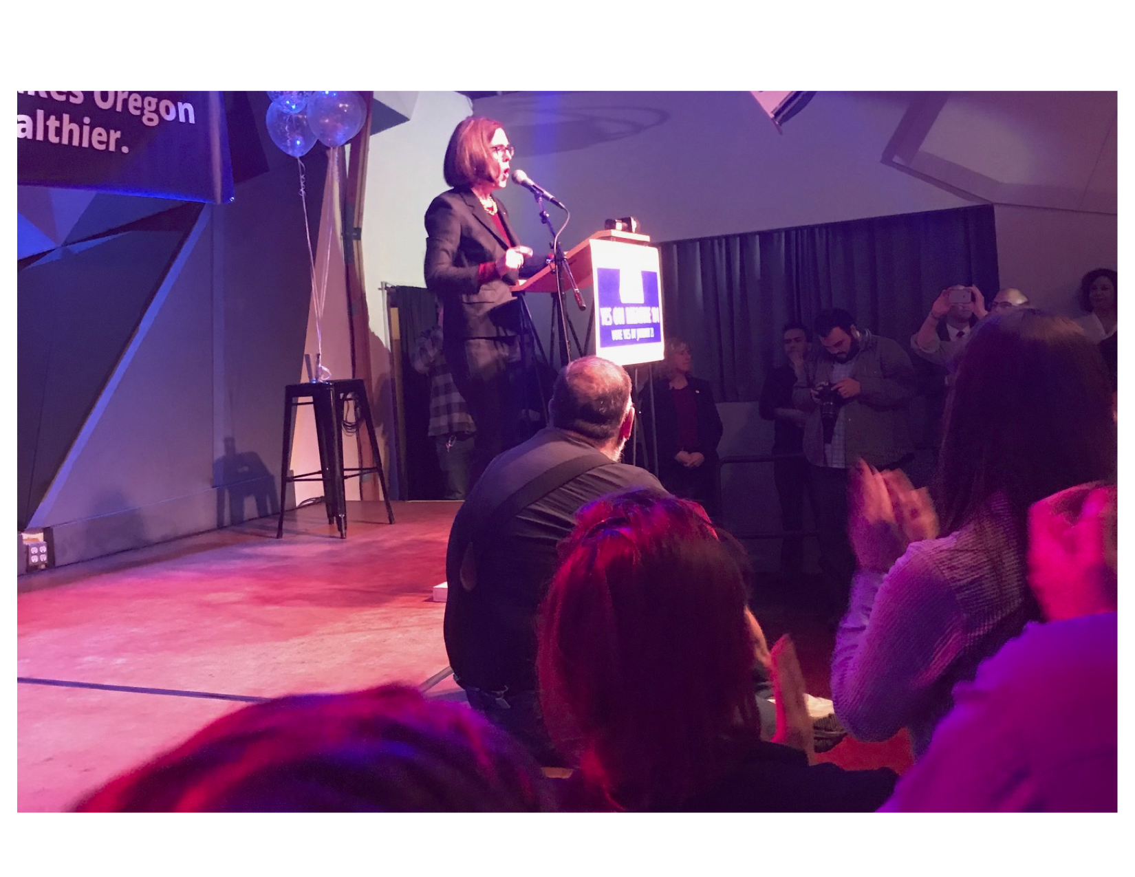 Governor Kate Brown told Measure 101 supporters at Tuesday night's victory party that voter approval of the Medicaid funding plan shows Oregonians support a GSD (Get Stuff Done) agenda.