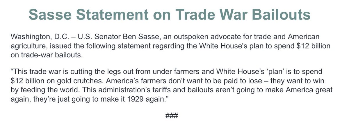 GOP Senator Ben Sasse from Nebraska may have spoken for the wave of critics who think Trump's tariffs are undermining US exports that have taken years to cultivate and who believe his proposed $12 billion package of one-time financial aid to farmers won't come close to co vering the long-term damage done by the tariffs.