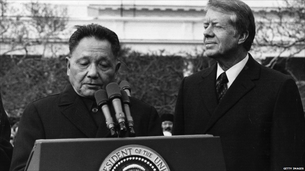 """Former President Jimmy Carter offers advice on how to avoid a cold war with China based on his experience 40 years ago normalizing diplomatic relations with Chinese leader Deng Xiaoping that led the two countries to """"become engines of global prosperity."""""""