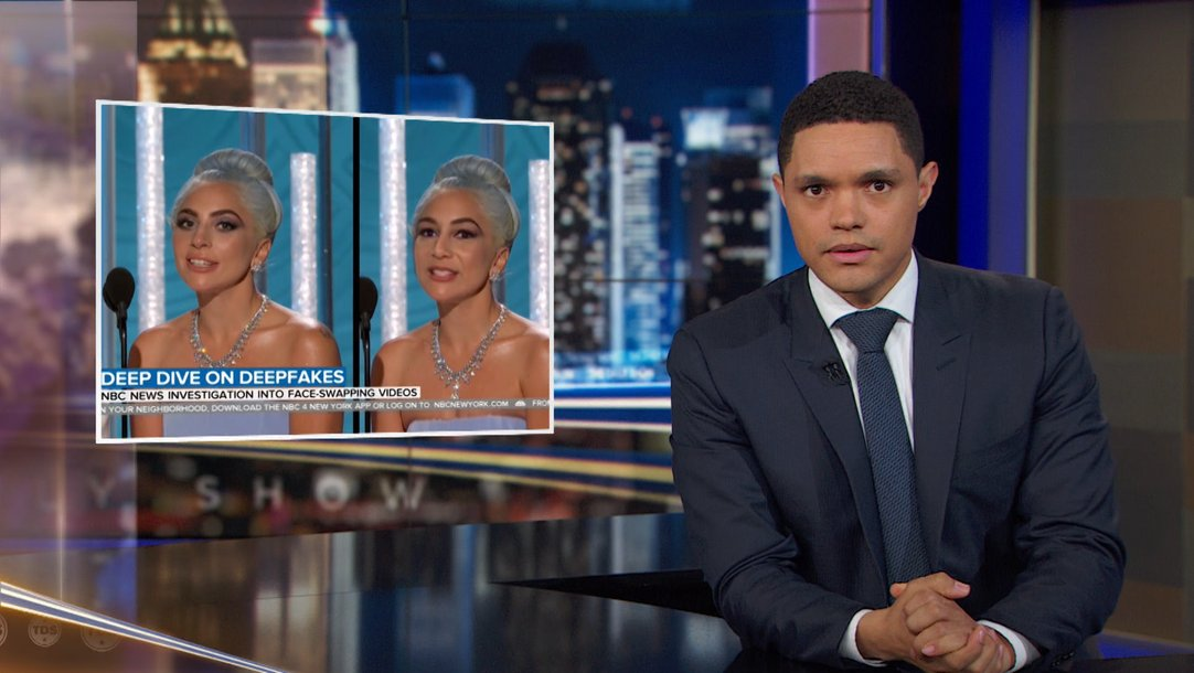 On a  recent episode  of  The Daily Show , Trevor Noah talked about the threat posed by deepfake technology to destroy reputations of people and brands.