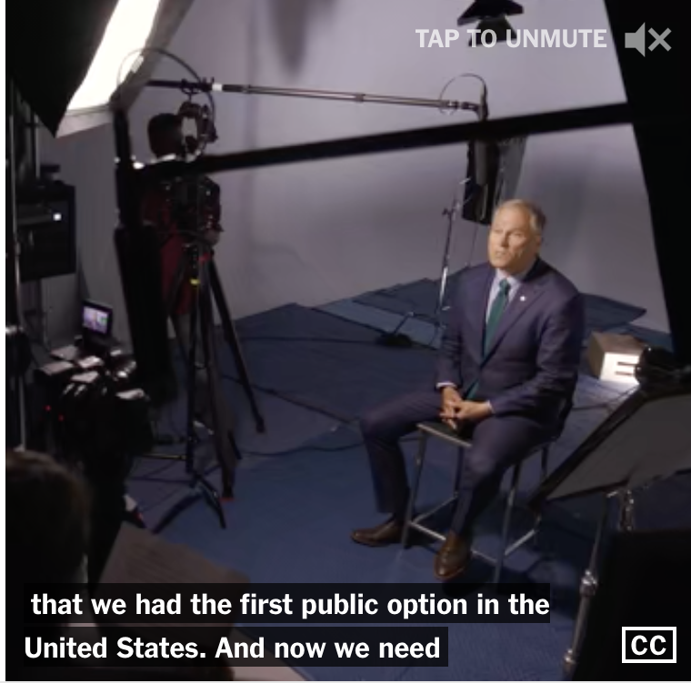"Washington Governor Jay Inslee was one of 21 Democratic presidential contenders to sit for videotaped interviews by The New York Times for its innovative ""Meet the Candidates"" special report in which candidates could tell their story and state their views in their own unfiltered words."